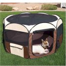 "Ware Deluxe Pop Up Pet Pen - Medium Tan/Dark Brown 48"" W x 48"" D x 28"" H"