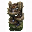 "5-Tiered Woodland Fountain LED Lights by Sunnydaze Decor 15"" W x 25"" H x 11"" D"