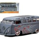 1962 Volkswagen Bus Grey With Flames & Baby Moon Wheels 1/24 Diecast Car Model