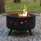 "Sunnydaze Cosmic Fire Pit with Cooking Grill 24"" In Diameter x 10""H Legs 5""H"