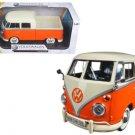 Volkswagen Type 2 (T1) Double Cab Pickup Truck Orange/Cream 1/24 Diecast Model