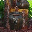 """Sunnydaze Cascading Log & Buckets Solar On Demand Fountain 13"""" W x 14"""" D x 30"""" H"""