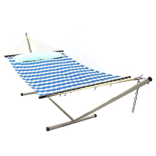 Sunnydaze Royal Blue Quilted Double Fabric Hammock Spreader Bar Pillow Stand