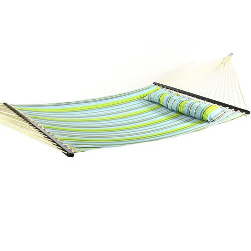 Blue and Green Quilted Double Fabric Hammock Spreader Bar Pillow and Stand