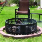 "Sunnydaze 36"" Heavy Duty Four Star Campfire Ring Steel Sheet Construction"