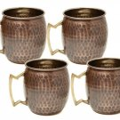 Old Dutch 16 oz Antique Hammered Solid Copper Moscow Mule Mugs - Set of 4