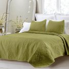 Oversized 3pc Quilted Coverlet Set Dark Green Queen