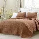 Oversized 3 Piece Quilted Coverlet Set Brown Queen Quilted Pattern