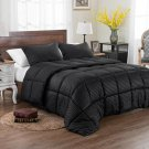 3pc Reversible Solid/Emboss Striped Comforter Set Oversized and Overfilled Black