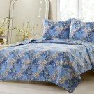 2pc Floral Blue Patchwork Quilt Set Style 1048 Cherry Hill Collection Full/Queen