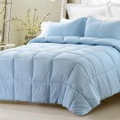 3pc Reversible Solid/Emboss Striped Comforter Set Oversized Overfilled Blue Full