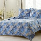 3pc Floral Blue Patchwork Quilt Set Style 1048 Cherry Hill Collection Full/Queen