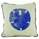 """Sand Dollar Pillow 15"""" L x 3"""" W x 15"""" H Handcrafted Blue White"""