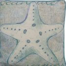 "Blue and White Starfish Decorative Throw Pillow 4"" L x 10"" W x 10"" H"