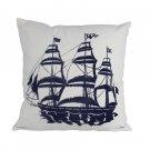 """Blue Tall Ship Decorative Nautical Throw Pillow 16"""" L x 16"""" W x 6"""" H"""