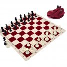 Silicone Pieces and Board Chess Set Combo With Drawstring Bag Red