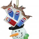 "4"" Glittered Snowman Head Balancing Pepsi Christmas Ornament"
