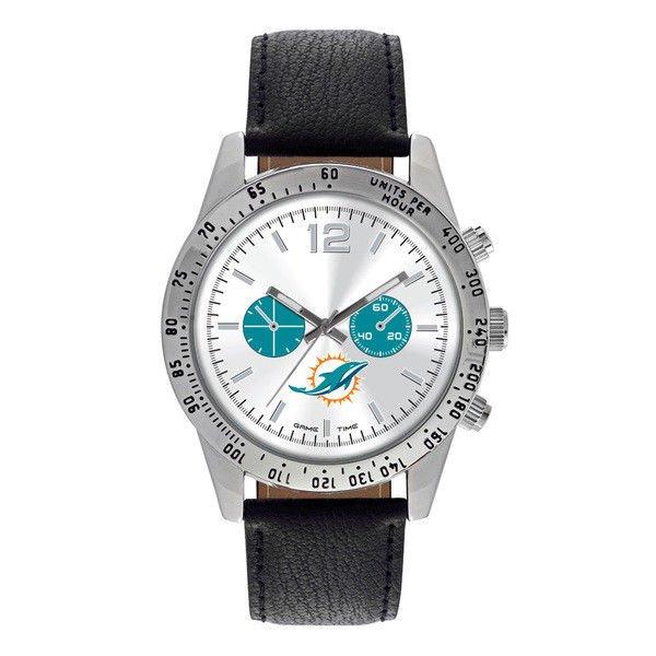 Miami Dolphins Mens Leather Watch Letterman Quartz Analog Silver Round Warranty