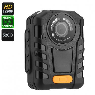 Police Body Cam - IP65 Waterproof, Night Vision, 1296p Resolution, Time Stamp
