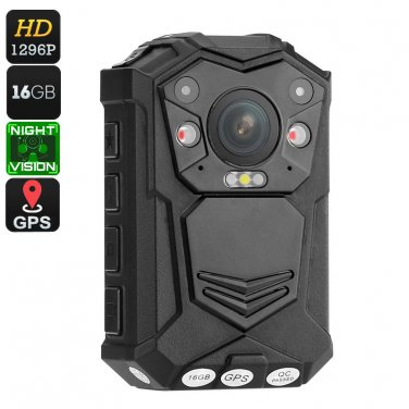 Police Body Camera - 1296p, Night Vision, CMOS Sensor, 140-Degree Viewing Angle