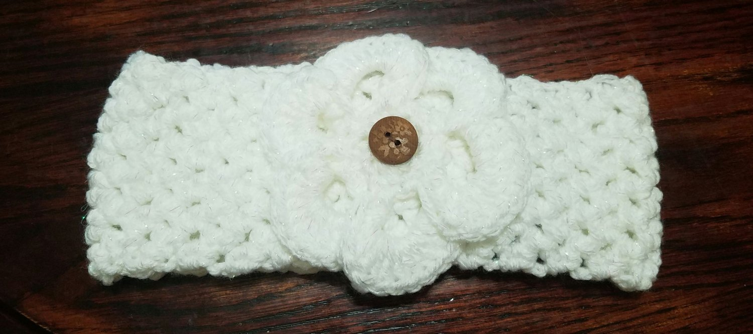 White Sparkle Ear Warmer - On Hand