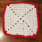 Cotton White with Red Trim Dish Cloth - On Hand