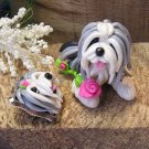 Old English Sheepdog Bead and Pin Set