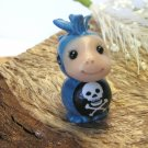 Punk Kid Mohawk Blue Handcrafted Bead