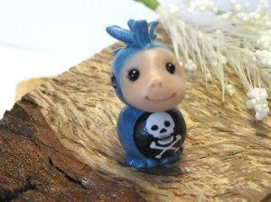 Punk Kid Mohawk Blue Handcrafted Bead