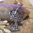 Tibetan Silver Floral Dog Charms - 1 piece