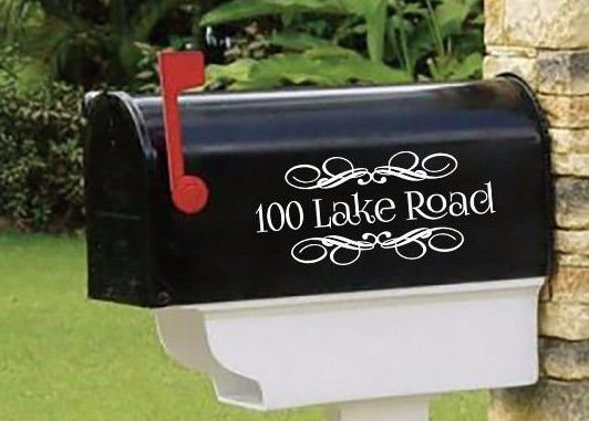 """Personalized SET OF 2 vinyl mailbox decals! 4.5"""" X 10""""  MAIL-00005"""