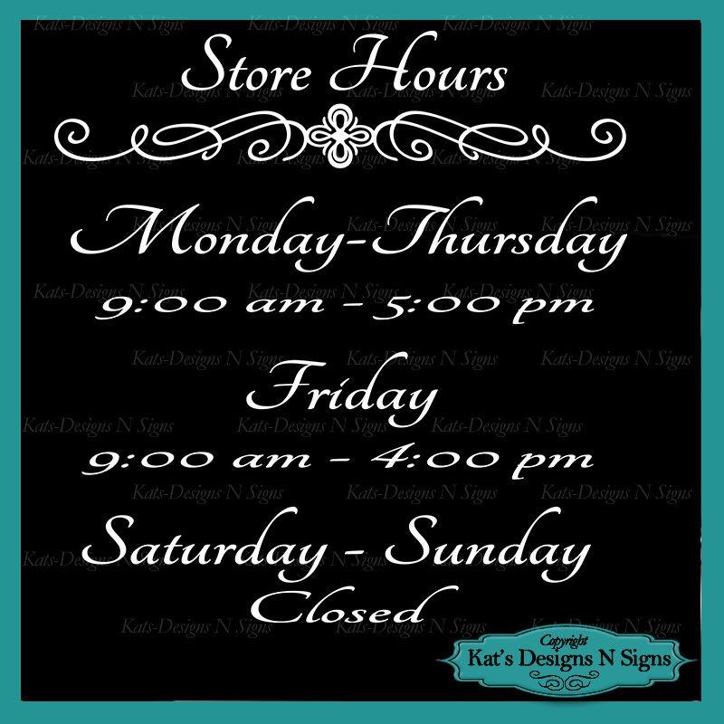 Business Store Hours Sign Vinyl Custom Decal Sticker Window Door Glass HRS-00002