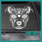 "PIT BULL SUGAR SKULL - Decal - Car/Truck/Window Dog Sticker!  9"" X 11"""