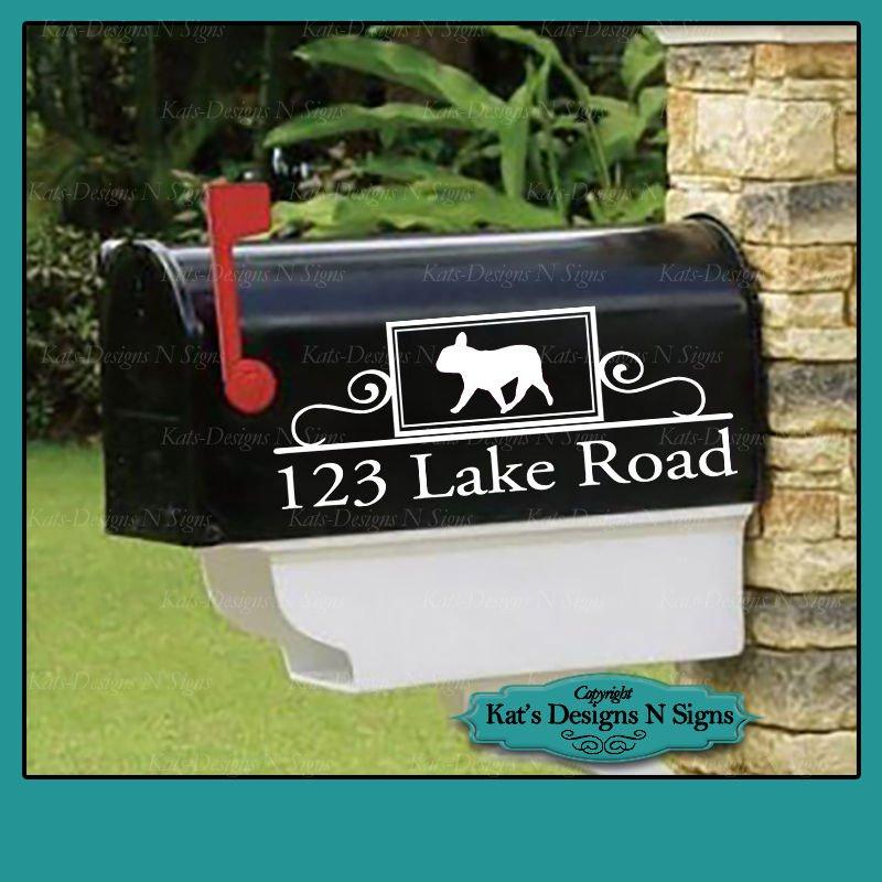 French Bulldog, Frenchie, Set (2) personalized vinyl mailbox decals!  MAI-00007