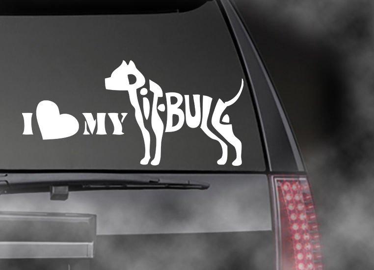 """I Love My Bull Pit Bull Decal, Car Truck Window Sticker! 3.75"""" x 8"""""""
