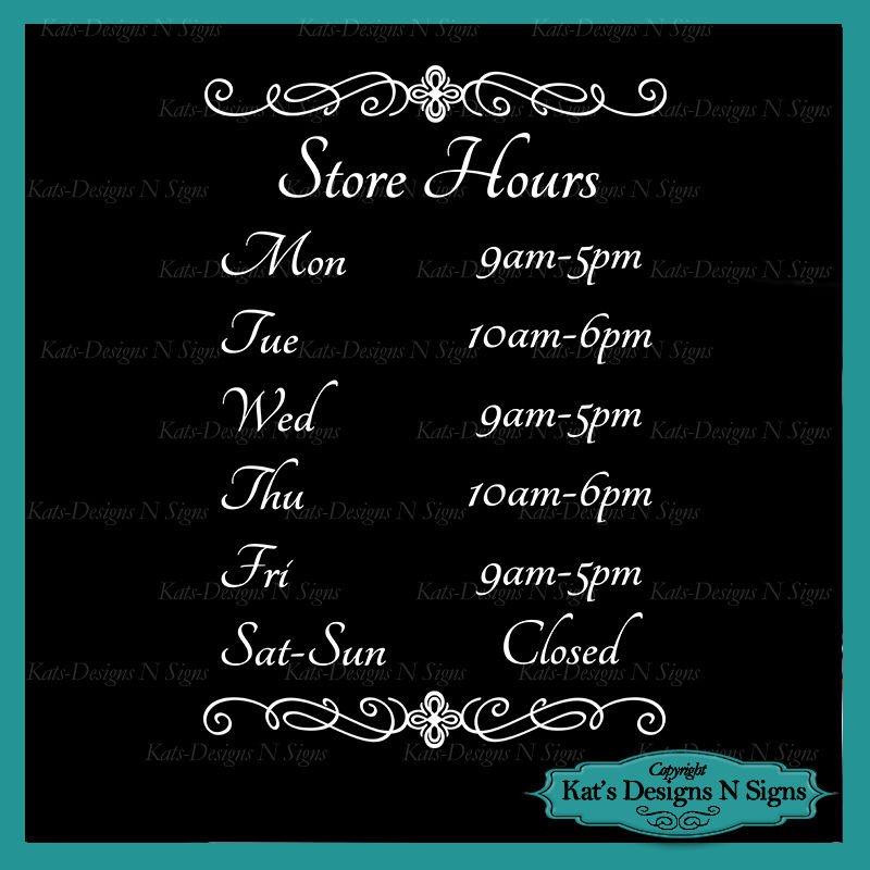 Business Store Hours Sign Vinyl Custom Decal Sticker Window Door Glass HRS-00001