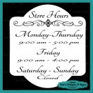 Business Store Hours Sign Vinyl Custom Decal Sticker Window Door Glass HRS-00003