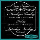 Business Store Hours Sign Vinyl Custom Decal Sticker Window Door Glass HRS-00006