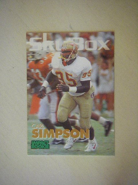 1993 SkyBox Impact Rookie Carl Simpson 2nd Round #393