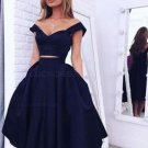 Two Pieces Off-the-Shoulder Navy Blue Bridesmaid Prom Dresses Evening Gowns E0223