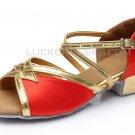 Women's Kids' Red Satin Sandals Flats Latin Dance Shoes Chunky Heels Dance Shoes D601004