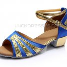 Women's Kids' Blue Satin Gold Sparkling Glitter Flats Sandals Latin Dance Shoes Party Shoes D601008