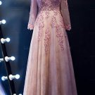 A-Line Long Sleeves V-Neck Lace Prom Evening Party Dresses E0684
