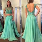 Beaded Lace Appliques and Chiffon Long Prom Evening Party Dresses E0723