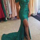 Mermaid Off-the-Shoulder Long Green Sequins Prom Dresses Party Evening Gowns E0322