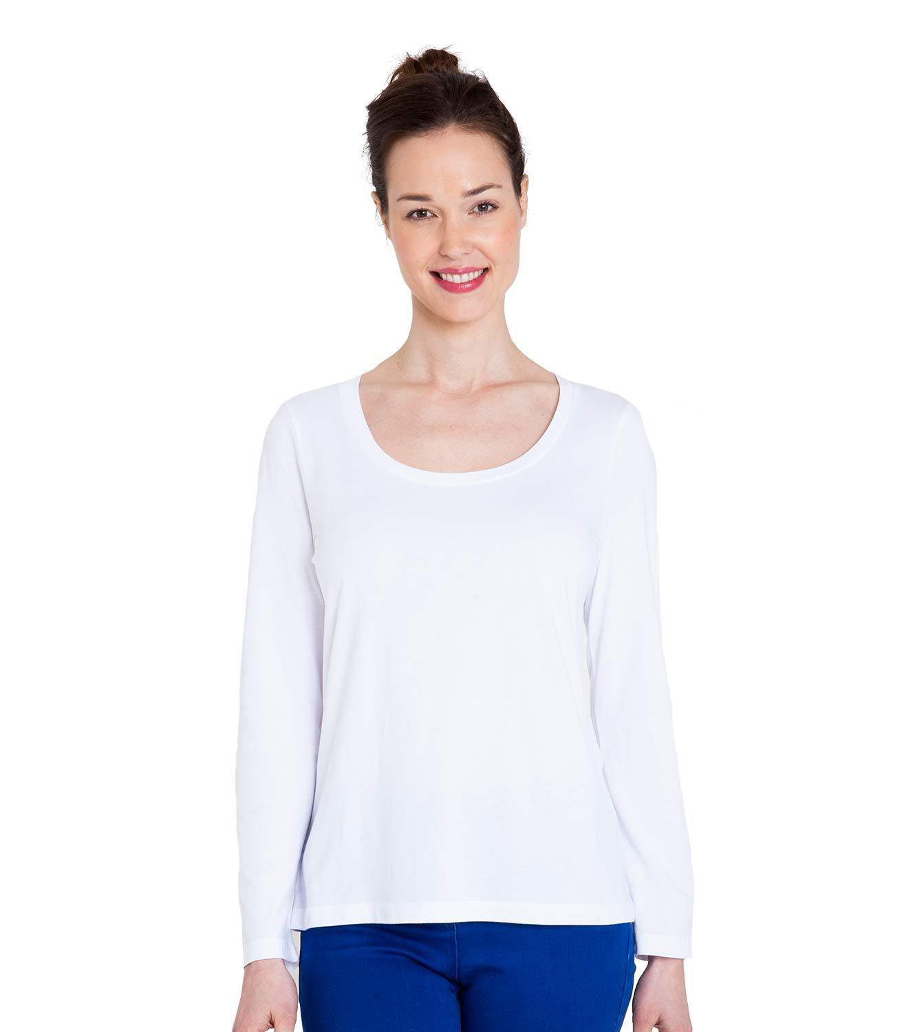 WoolOvers Womens Jersey Long Sleeve Scoop Neck Casual T-Shirt Tee Top