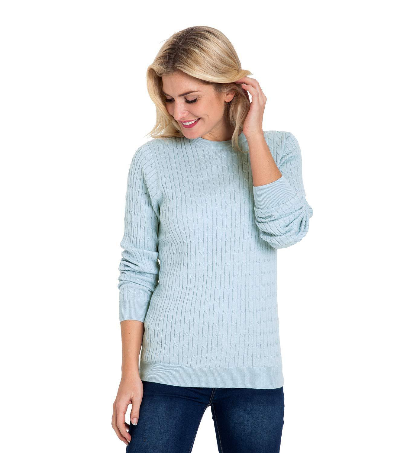 WoolOvers Womens Cashmere and Cotton Cable Crew Neck Sweater Jumper Knitwear
