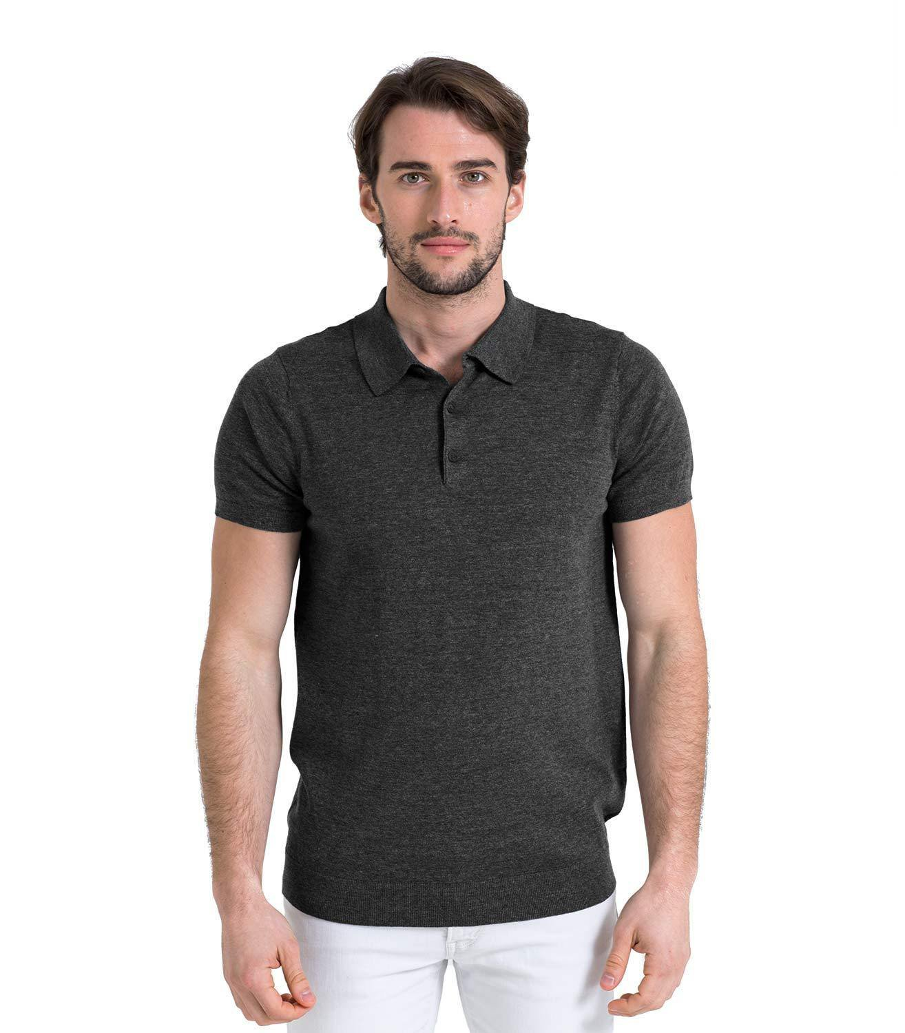 WoolOvers Mens Pure Cotton Polo Shirt Short Sleeve Casual T-Shirt Tee Top