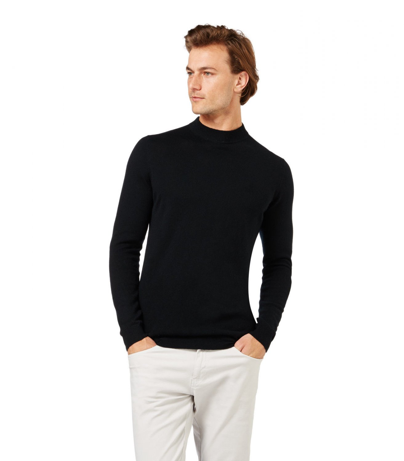 WoolOvers Mens Cashmere Merino Long Sleeve Turtle Neck Knitted Pullover Top