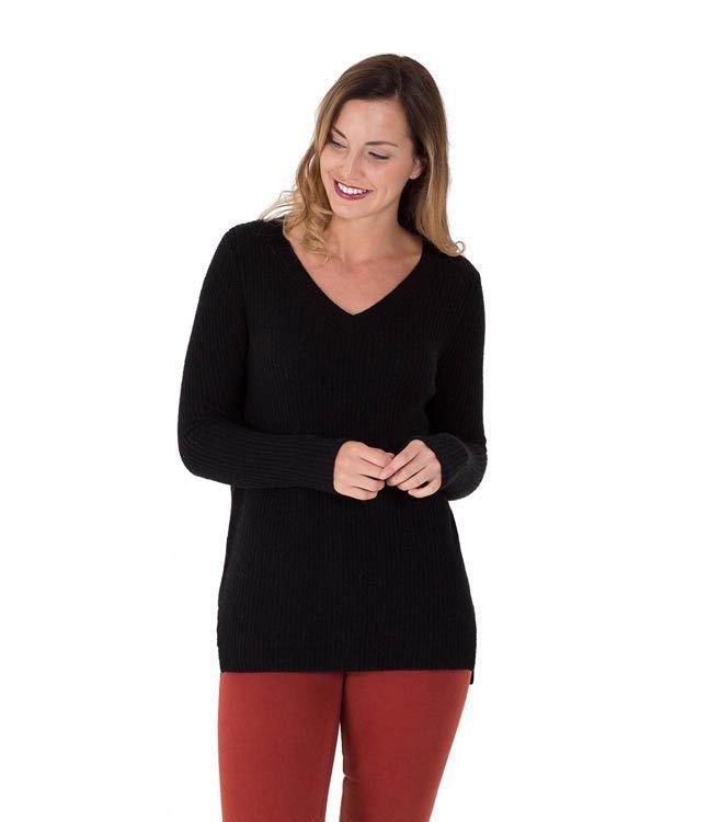 WoolOvers Womens Cashmere Merino Chunky V Neck Long Sleeve Sweater Pullover Top